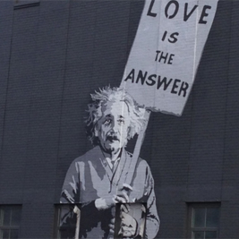 Image of street art featuring Albert Einstein